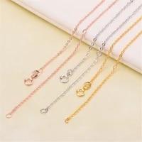 diy pearl accessories 925 silver necklace plated platinum gold fine chain silver ornaments o word chain 40 plus 5 cm cross chain