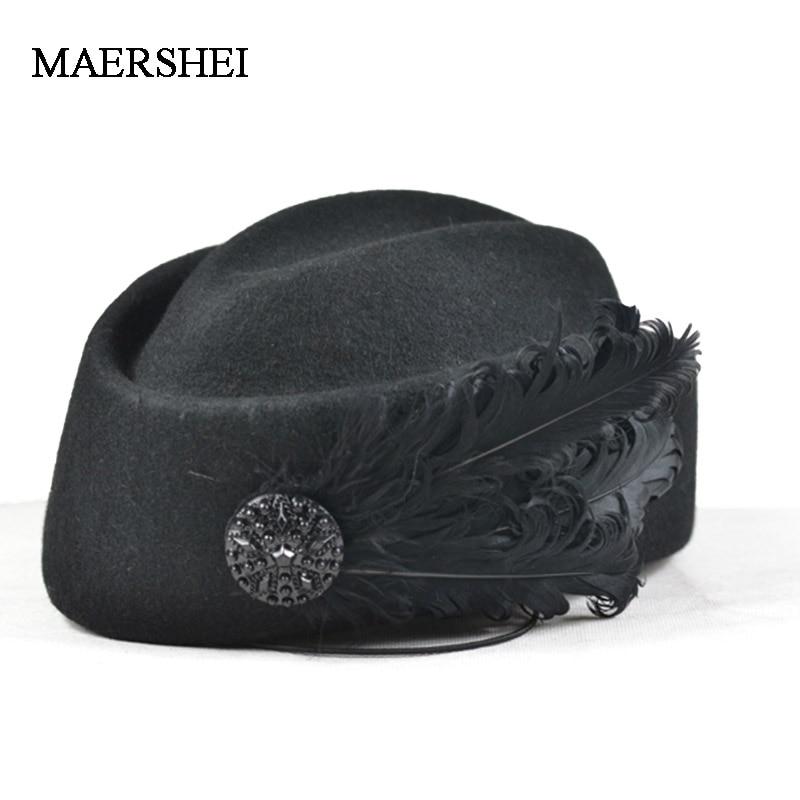 Elegante lana pluma lazo aerolínea azafata mujeres blancas Fedora gorras Formal señora Sombrero estilo real DomeChapeu MAERSHEI
