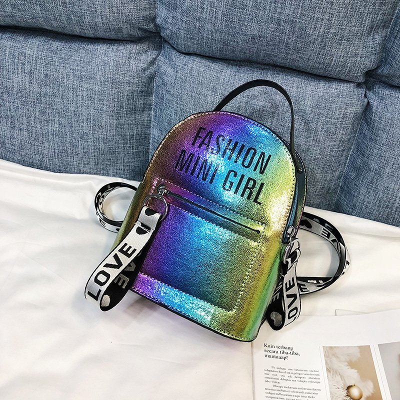 Laser Mini Backpack Women Stadium Security School Book Bag Travel Cute Travel Hot silver Ladies Small Bag