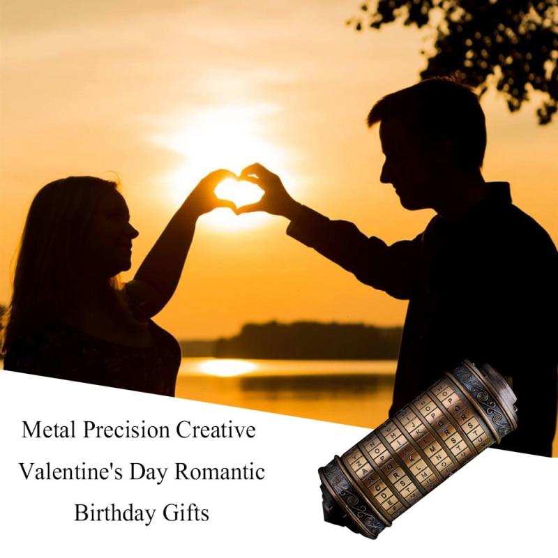 Nuevo Da Vinci código de bloqueo de Metal cierres CRYPTEX Retro carta contraseña Cabellos regalos de boda regalos del Día de San Valentín