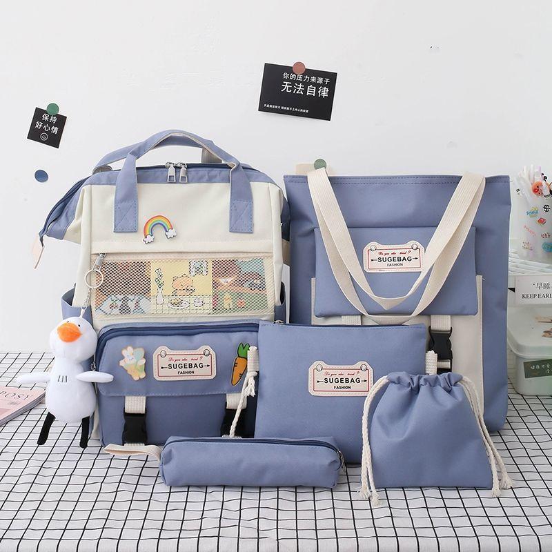 2021 5 قطعة/المجموعة قماش مدرسة حقائب مدرسية جميلة للمراهقات Bookbags الطلاب السفر حقائب كتف الإناث