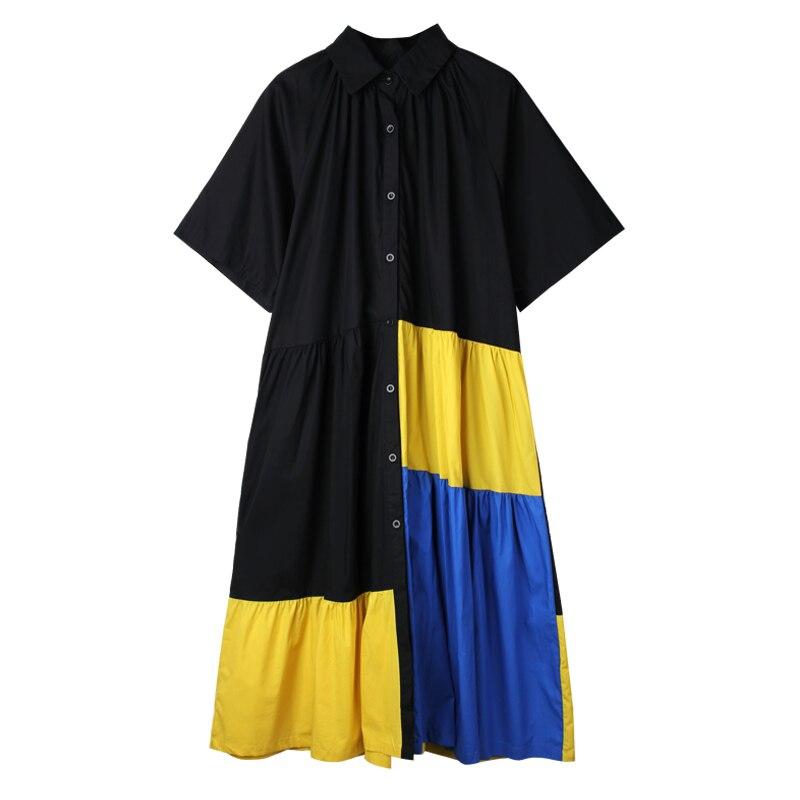 Camisa de algodón vestidos de verano de talla grande Casual mujer Patchwork Ruffle camisa vestido 4XL