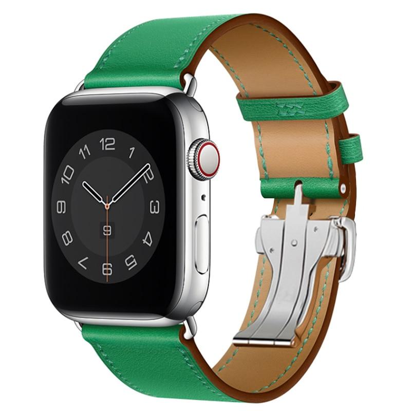 حزام من الجلد بإبزيم لساعة apple watch 6 5 4 3 2 1 ، سوار من الفولاذ المقاوم للصدأ للساعة الذكية ، 38 مللي متر 42 مللي متر ، جديد