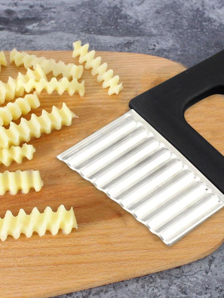 1 Uds. Herramienta de borde ondulado, rebanador ondulado de corte de patatas fritas de acero inoxidable, cortador de tira corrugada, cortador creativo de verduras, herramienta de cuchillo para papas