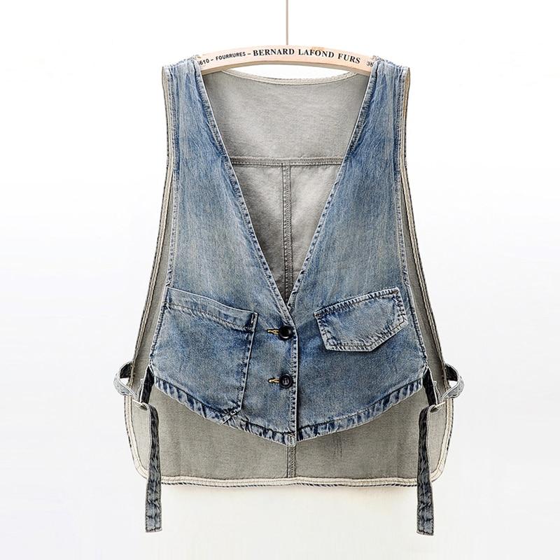 Denim Vest Short Women Loose Korean 2021 New Spring Summer Thin Sleeveless Basic Coat Small Jacket W