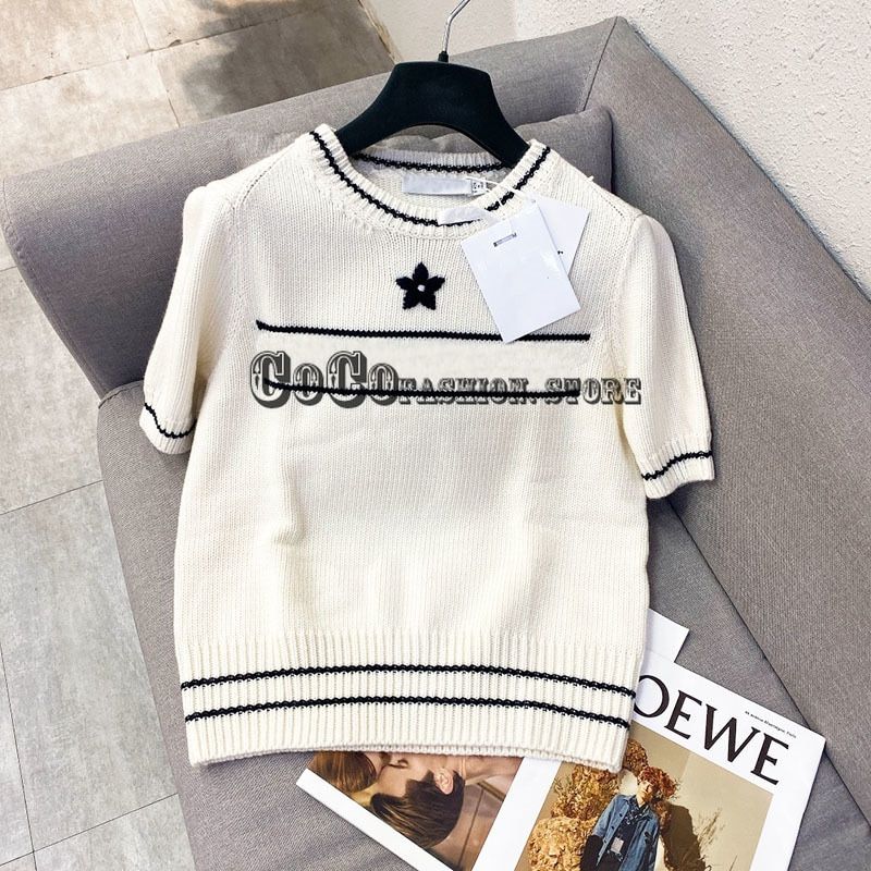 Luxury design fashion Wool knitted embroidered short sleeved sweater t shirt 21 new shirts for women clothes letter logoed tops