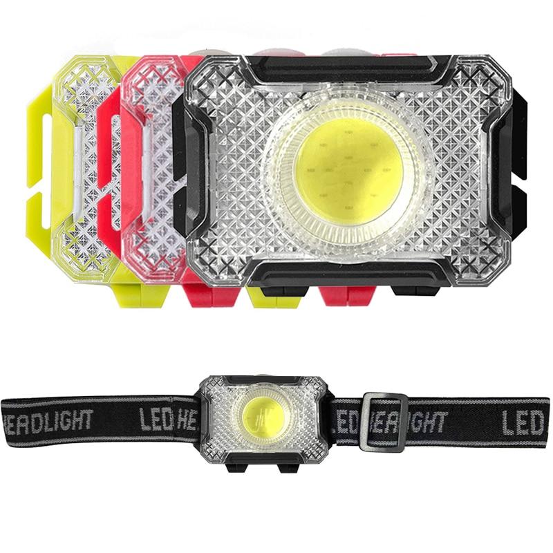 Миниатюрный светодиодный фонарь COB, водонепроницаемый портативный уличный Головной фонарь с 3 режимами освещения, налобный фонарь для кемп...