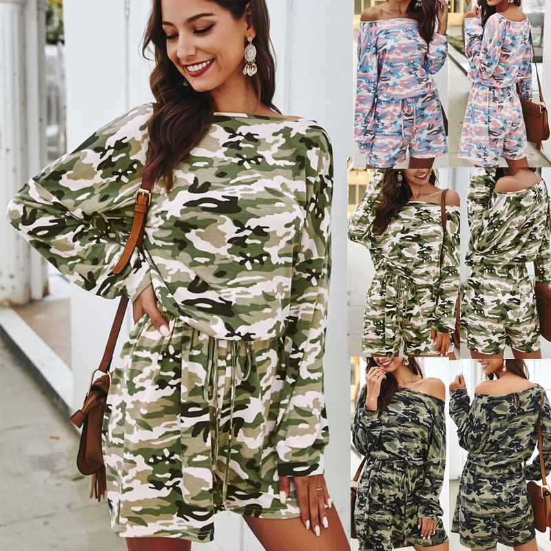 New Product Spring 2020 Camouflage Casual Straight-leg Jumpsuit Camouflage Print Oblique Collar Loose Cotton Plus Size Jumpsuit