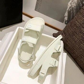 Summer Genuine Leather Flat Platform Sandals Women 2021 Hook Loop 4CM Platform Peep Toe Women Sandals   Gladiator Female