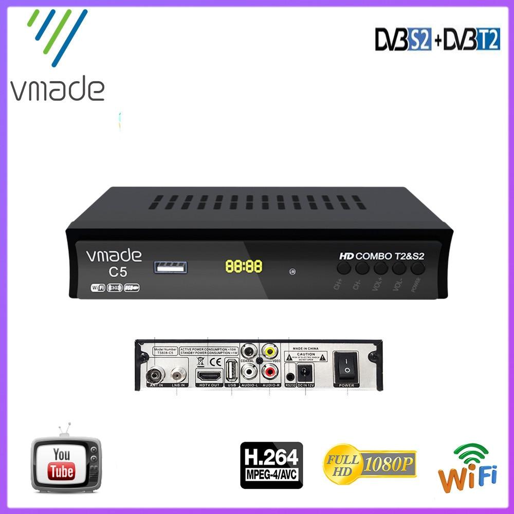 made 1080p tv tuner dvb t2 s2 digital Set top box DVB-S2 Dvb-t2 TV tuner satellite receiver support USB wifi youtube T2 decoder недорого