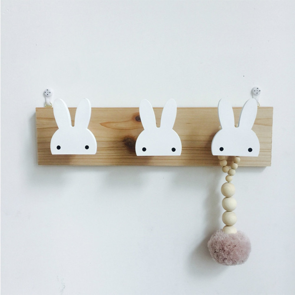 Wooden Hooks Room Decorative White Bunny Swan Natural Wood Hooks For Baby Bory Girl Kids Nursery Room Storage Decoration L1