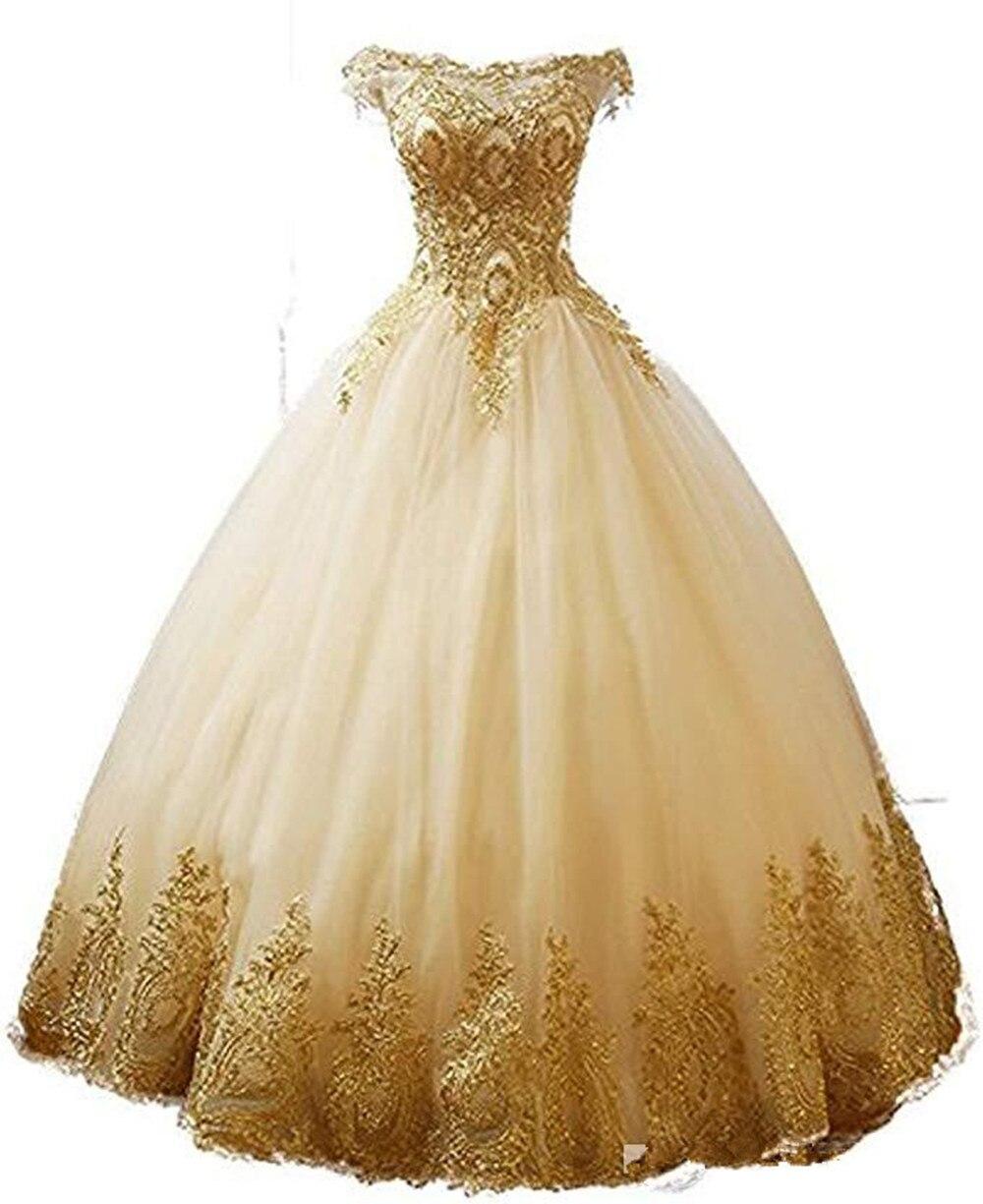 2021 реальное изображение, Золотое кружево, аппликация, платья для Quinceanera, бальное платье для выпускного вечера, милое бальное платье 16, вечерн...