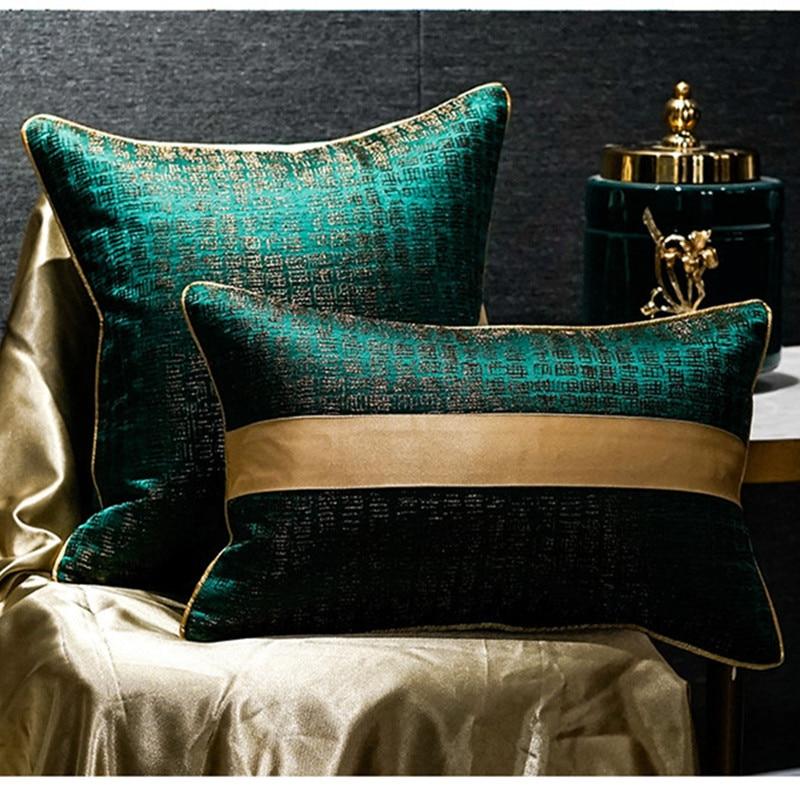 غطاء وسادة فاخر ، مرقع على الطراز الصيني ، لون نقي ، جاكار أخضر مسود ، غطاء وسادة ، أريكة ، سرير ، ديكور ، جديد