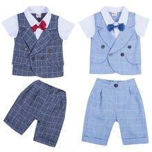 Nova Da Criança Do Bebê Menino Terno Do Casamento Formal Bowtie Gentleman Tops + Pants Set Outfit 0-4Y