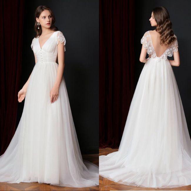 FANWEIMEI #3106 vestido de novia elegante de manga corta línea de forma de A sin espalda destino playa vestido de novia de talla grande personalizado 2020 nueva llegada
