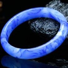 1pc naturalny chiński niebieski jadeit bransoletka bransoletka urok biżuteria akcesoria mody ręcznie rzeźbione szczęście Amulet prezenty