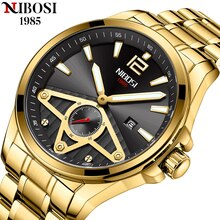 NIBOSI Men Wristwatch Top Brand Luxury Gold Waterproof Man Watch Stainless Steel Sport Military Date