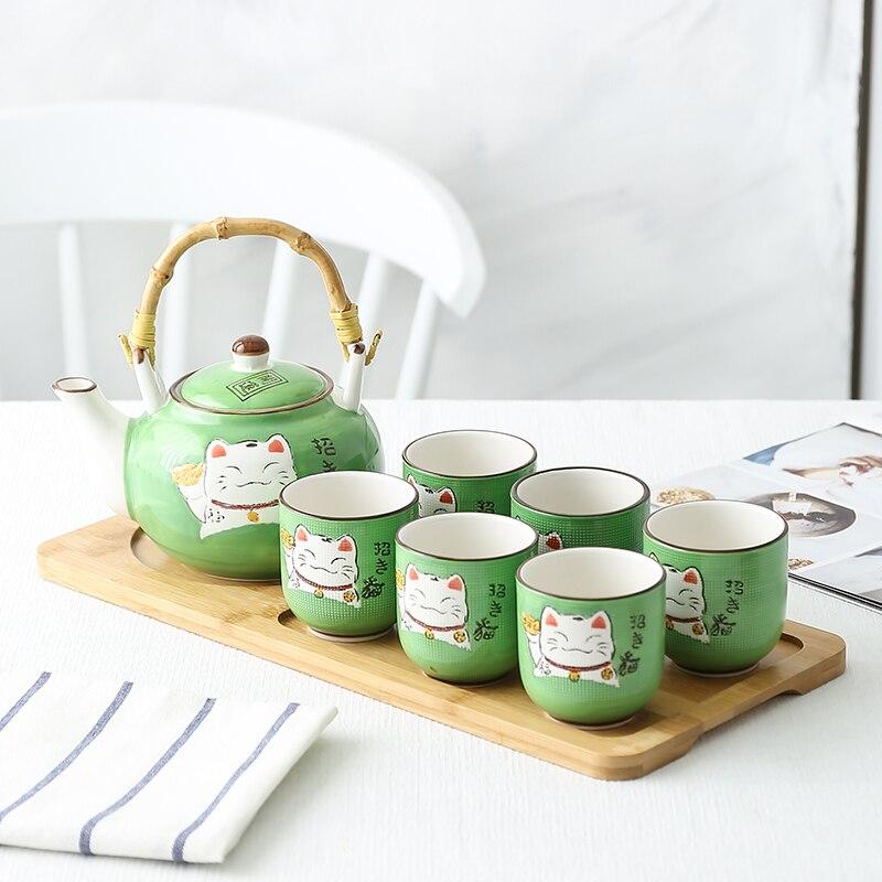 اليابانية الكونغ فو طقم شاي مجموعة الزفاف المنزل الشاي صنع فنجان شاي إبريق الشاي غرفة المعيشة بسيطة السيراميك رفع شعاع وعاء