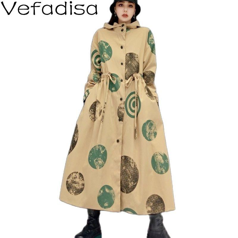 Осень 2021, модный Женский Тренч Vefadisa в горошек, длинное пальто с капюшоном, Женское пальто с завязкой на талии, черный, хаки QYF6472