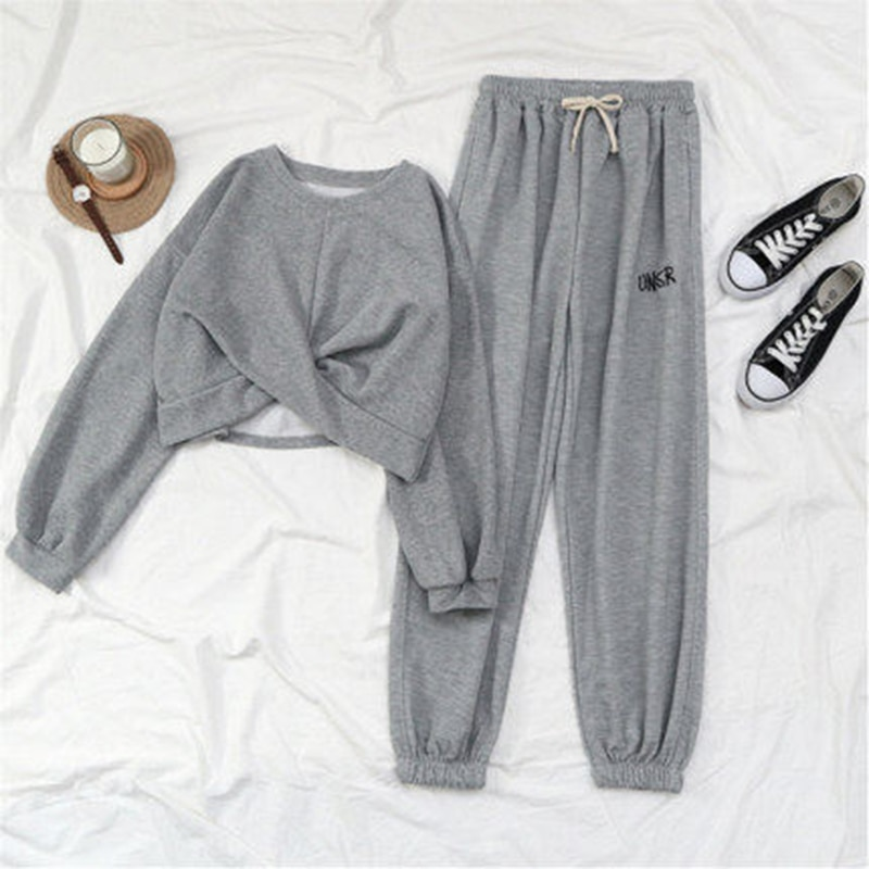 2020 New Spring Black Gray Sports Pants Women Big Pocket Joggers Women Streetwear Harajuku BF Sweatpants Women