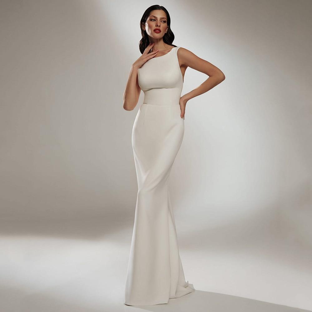 فستان زفاف بحورية البحر أبيض بسيط ذو ياقة مربعة من الجيرسيه بدون أكمام بفيونكة وسحاب وقطار طويل موضة 2021 فستان عروس Vestido De Noiva