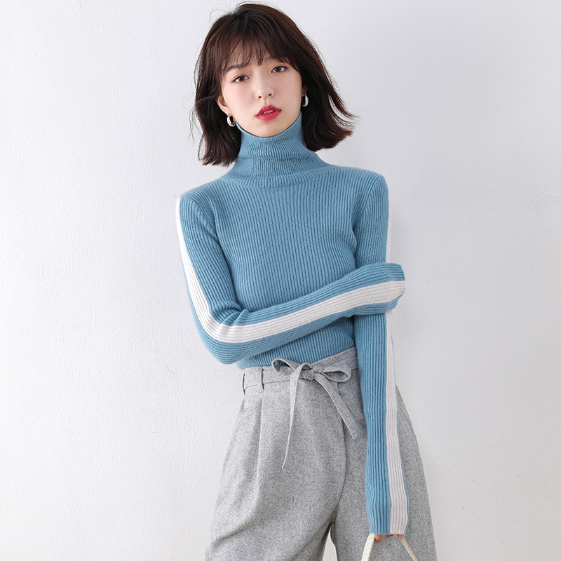 adohon 2021 woman winter 100% Cashmere sweaters and autumn knitted Pullovers High Quality Patchwork Female thickening Turtleneck enlarge