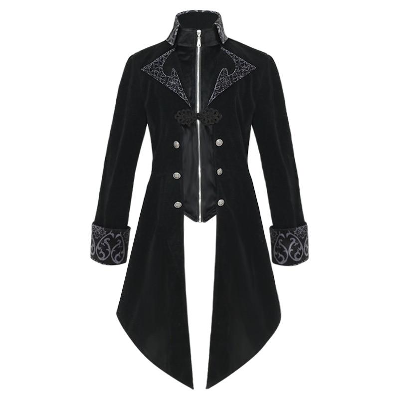 في القرون الوسطى Steampunk ذيل معطف هالوين ازياء الرجال النهضة القراصنة مصاص دماء القوطية الستر خمر Warlock فستان معطف موحد