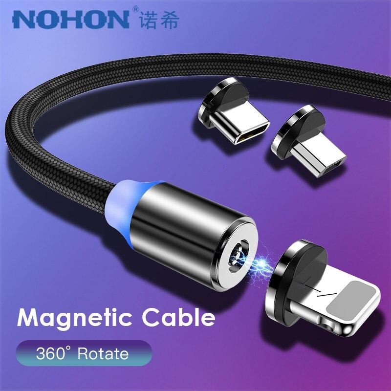 NOHON cargador magnético Cables Micro USB tipo-C 8 Pin para iPhone XS MAX XR X 7 8 6 Plus cable de carga para Samsung S8 Nota 9 8 1M