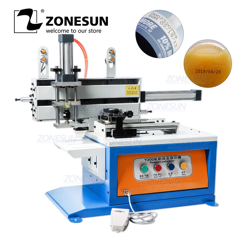 Impresora de almohadillas de tinta neumáticas para ZONESUN máquina automática de codificación de fecha, tapas plásticas cosméticas, latas, impresora de almohadillas de vidrio para botellas