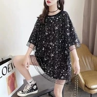 shiny mesh stitching fake two pieces short sleeve t shirt for women 2021 summer new loose top clothes