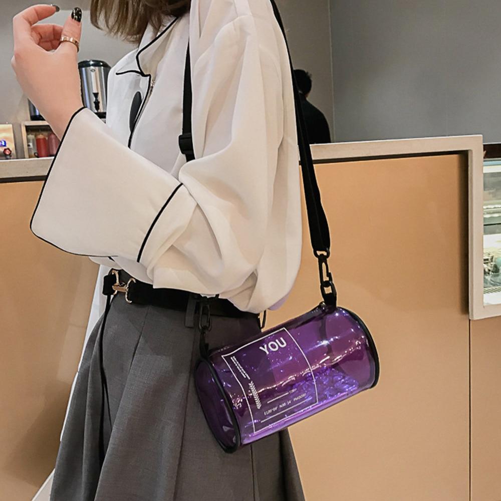S.IKRR Round Bucket Transparent Bag Crossbody Women Purple Handbags Beach Jelly Shoulder Bag PVC Messenger Bags Mini Clear Purse