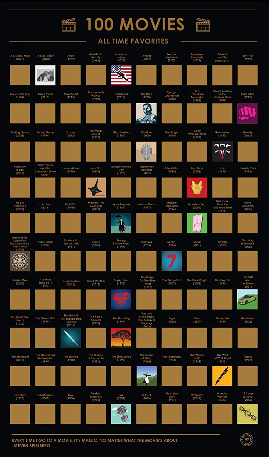 100 Movies Scratch Off Poster 100 Must-See Movies Top Films of All Time Bucket List (16.5