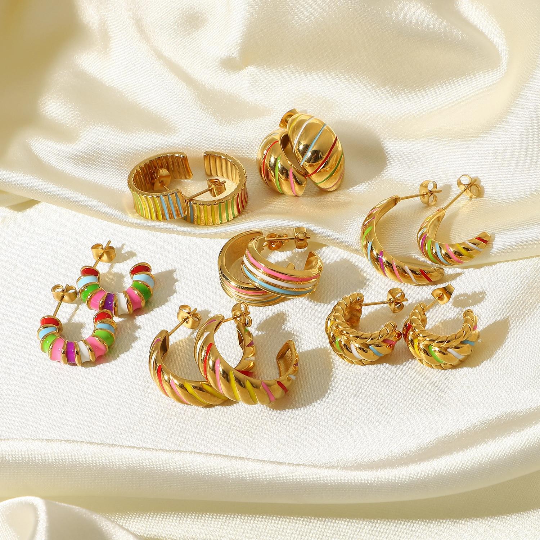 Круассан из нержавеющей стали серьги Twist C Форма Серьги-кольца для женщин 18K Позолоченные Красочные капельки масло Oorbel