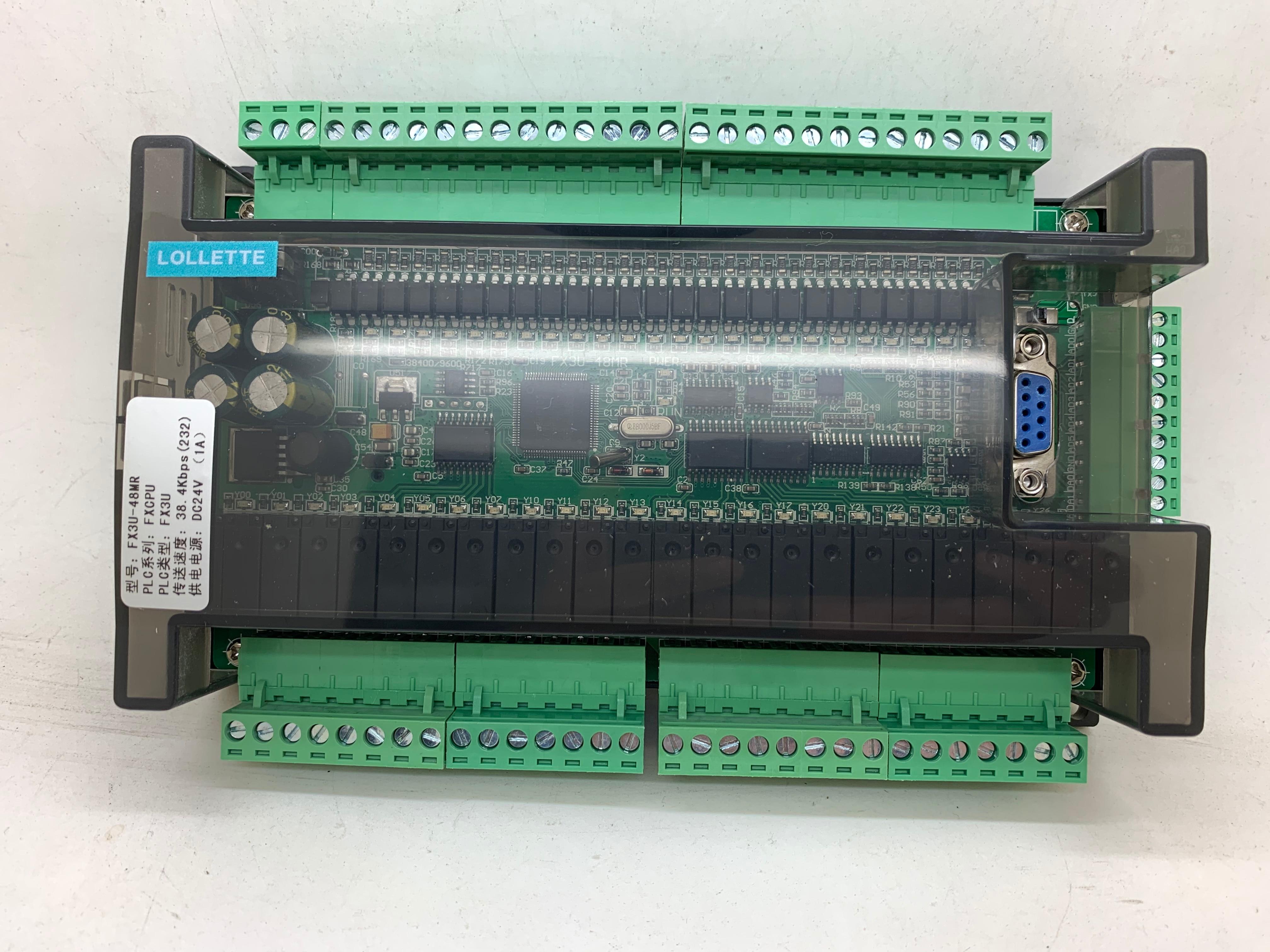 جهاز تحكم LE3U FX3U 48MR RS485 RTC (ساعة في الوقت الحقيقي) 24 مدخل 24 مخرج مرحل 6 مدخل تناظري 2 مخرج تناظري plc