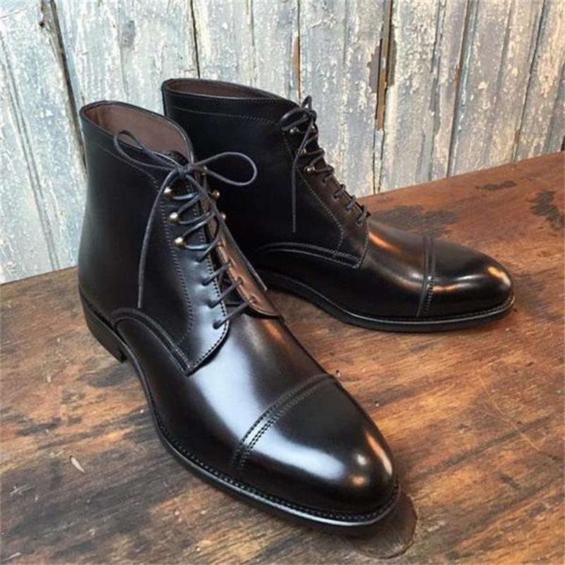 New Men Fashion Trend Temperament All-match Dress Shoes Handmade Black PU Three-stage Wingtip Lace-u