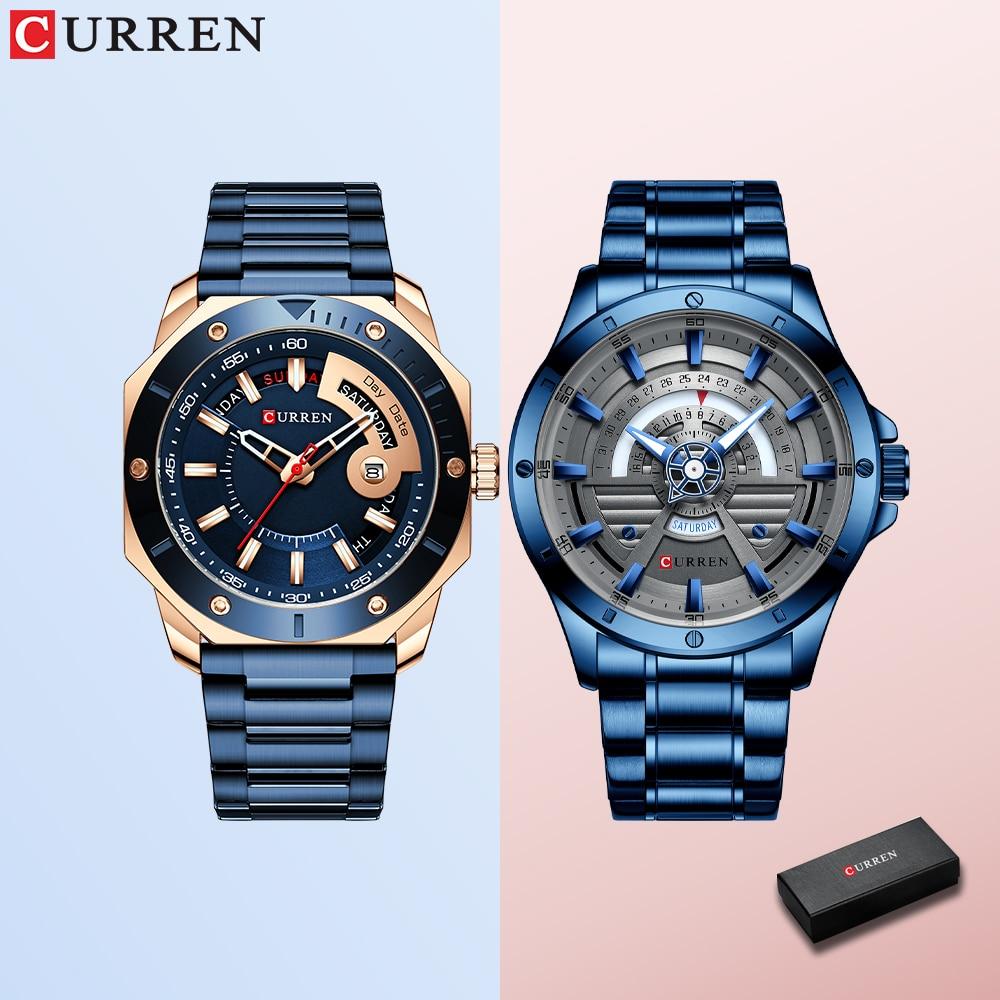 CURREN ساعة رجالي الموضة الإبداعية زوج ساعة اليد كوارتز ساعة مع الفولاذ المقاوم للصدأ Relogio Masculino