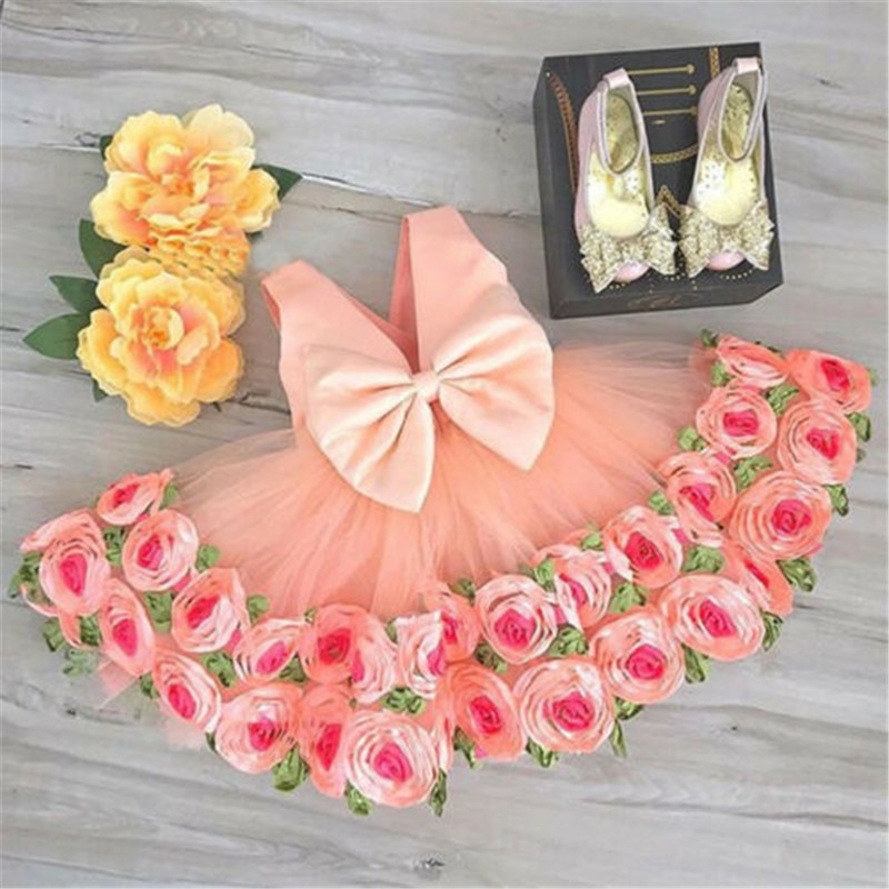 Купить с кэшбэком UK Formal Kids Flower Girl Dress Princess Bridesmaid Party Wedding Pageant Dress Rose Sundress 2-8T