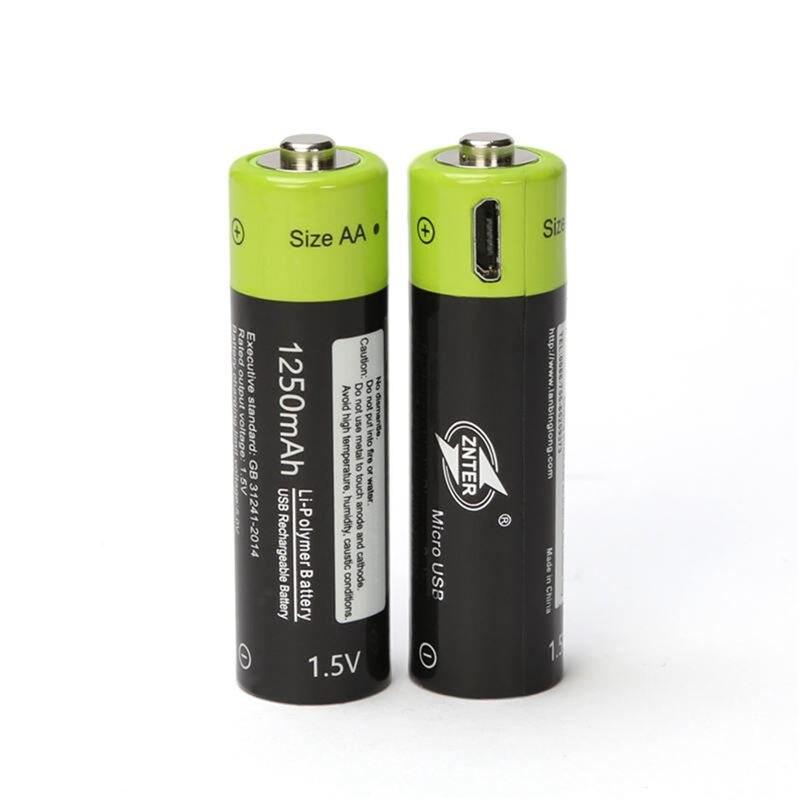 2PCS ZNTER AA Akku 1250mAh 1,5 V li-polymer Akku micro usb charging 1,5 v batterien