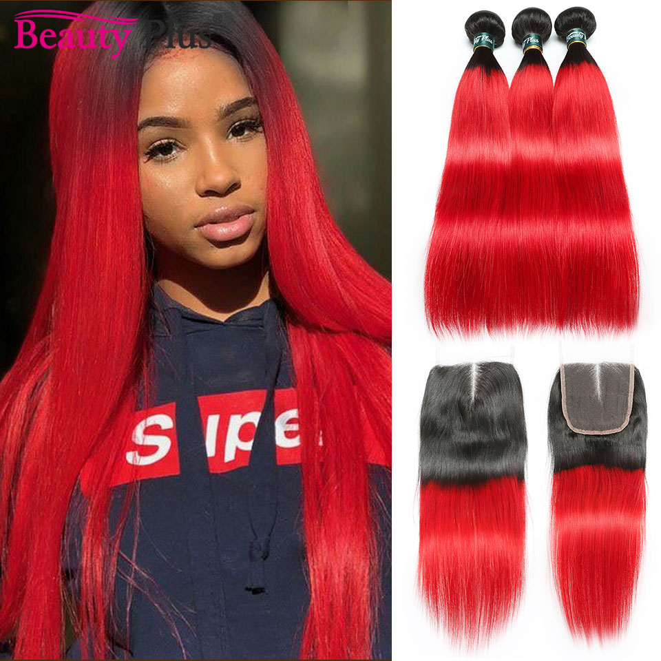 10A Red Hair Bundles With Closure Ombre Brazilian Remy Human Hair Weaves And Lace Closures 28Inch Long Straight Hair Beauty Plus