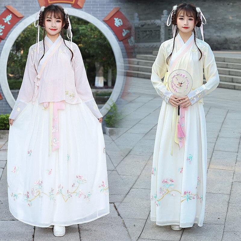 شحن مجاني هان عنصر الصليب طوق مطرزة طبقة مزدوجة كبيرة فستان محكم من عند الصدر ويتدلى بشكل واسع المرأة النمط القديم