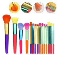 colorful handle women beauty fashion foundation blush tool eyeshadow brush 15pcs makeup brushes blending brush set