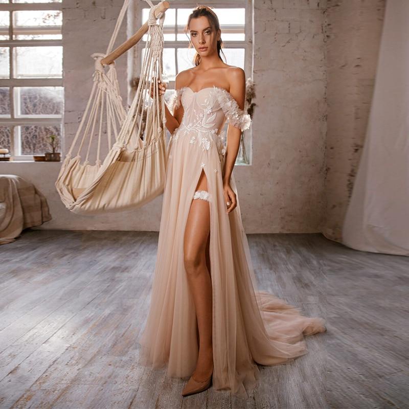 Promo Vestido de noiva Sweetheart Off the Shoulder Lace Applique Custom made A Line Wedding Dresses