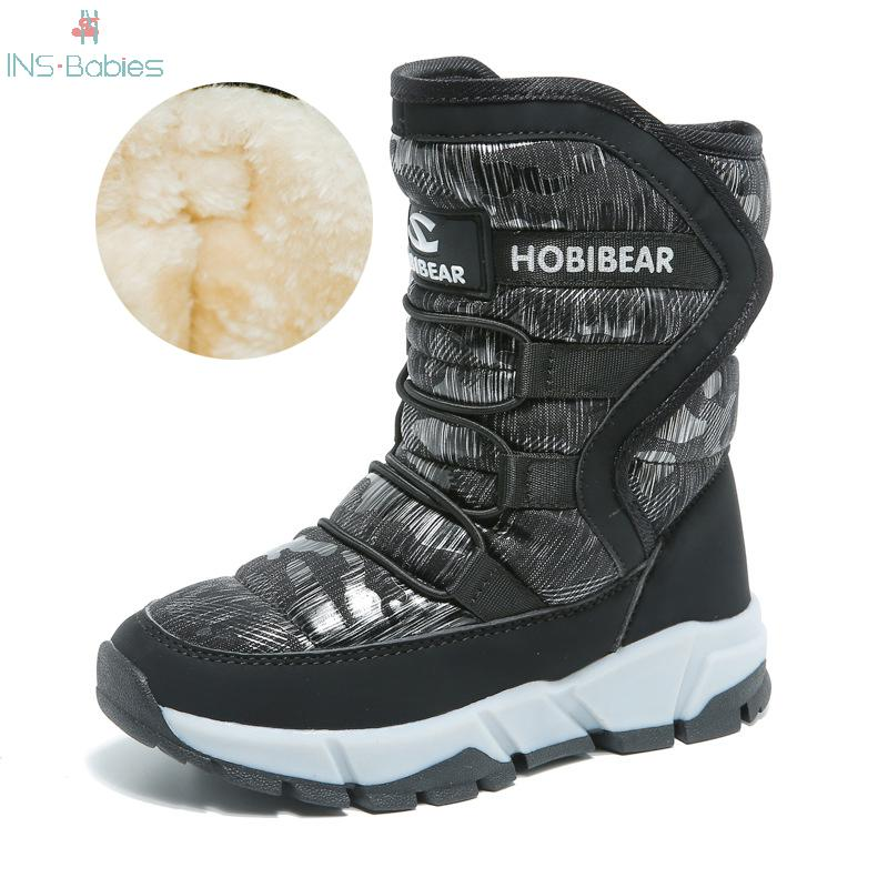 children snow boots winter boys girls boots outdoor cotton fabric shoes waterproof for 30 degree russia warm 2021 New Russia Winter Children's Snow Boots Boys Girls Fashion Waterproof Warm Shoes -30 Degree Kids Thick Mid Non-slip Boots
