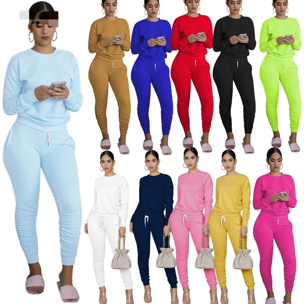 AliExpress - Winter Casual Sport Women Two Piece Set Tracksuit Long Sleeve Sweatshirt Tops Stacked Jogger Sweatpant Suit Outfits Matching Set