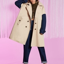 Color Block Double Breasted Women Trench Coat long autumn patchwork lady office cool girl high stree