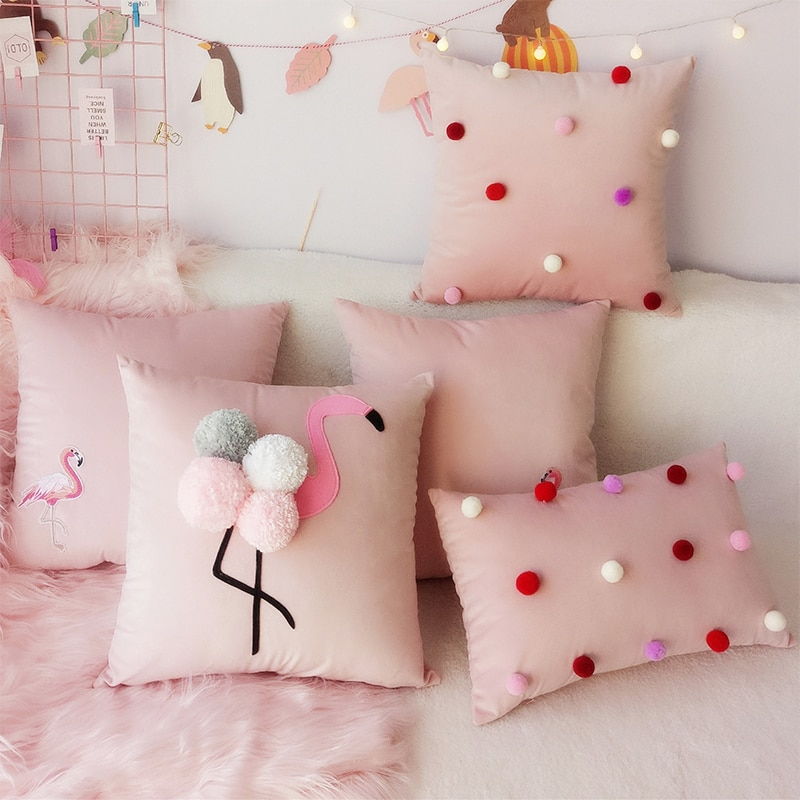 45x4 5/50x30 سنتيمتر اليدوية الوردي الصوف كرات وسادة غطاء أريكة لطيف فلامنغو رمي غطاء وسادة قطني المخملية المخدة