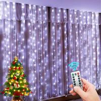 СВЕТОДИОДНЫЕ гирлянды Новогоднее украшение дистанционного Управление USB Свадебная гирлянда штора 3 м лампа праздник для лампа для спальни ...