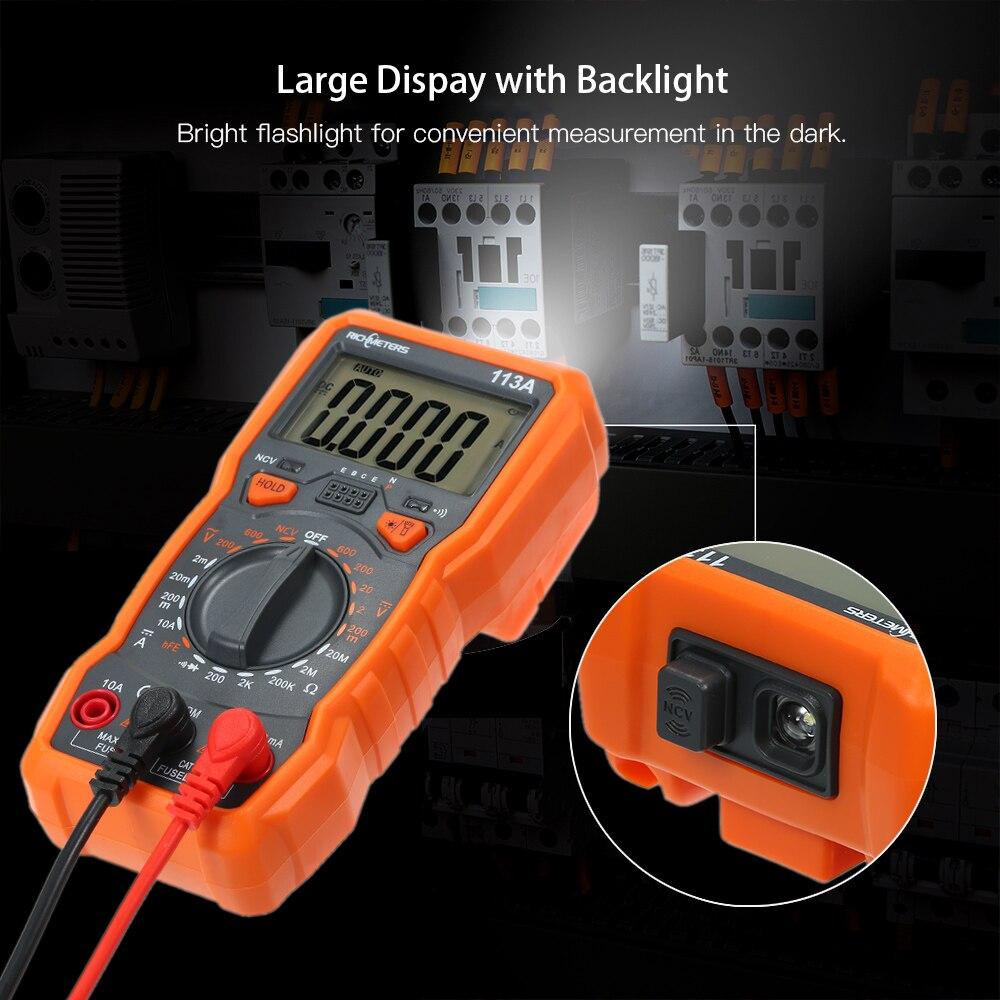 Multímetro Digital NCV RM113D de 6000 recuentos, medidor de medición de temperatura de voltaje AC/DC con multímetro magnético