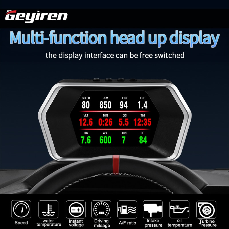 Автомобильные аксессуары GEYIREN, умные Автомобильные диагностические инструменты HUD P17 OBD2, GPS, навигация, превышение скорости, сигнализация ск...