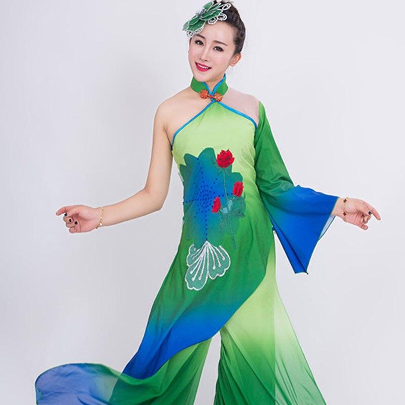 Костюм ханьфу для классических танцев в китайском стиле, костюм для современных танцев, женская одежда для взрослых, фанатский танцевальны...